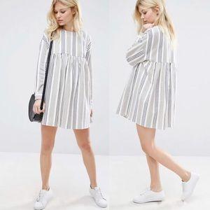 ASOS Long Sleeve Smock Dress in Natural Stripe